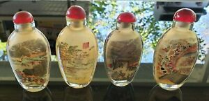 Vintage Antique Chinese Reverse Painted Glass Snuff Bottle Set Of 4