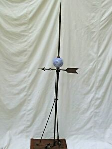 Antique Lightning Rod With Glass Ball Weather Vane Directional Arrow