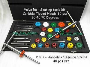 Valve Seat Cutter Tool Kit Carbide Tipped 40 Pcs For Vintage And Modern Engines