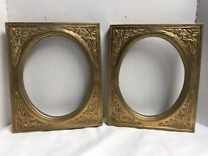 Lot Of 2 Vintage Antique Wooden Gold Ornate Picture Frames 10x12 Fits Oval 9x10