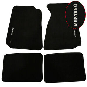 For 94 98 Ford Mustang 2dr Floor Mats Carpet Front Rear Nylon Black W Mustang