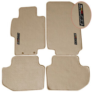 For 03 07 Honda Accord Floor Mats Carpet Front Rear Nylon Beige W Mugen