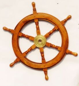 Wooden Ship Wheel 24 Inch Collectible Nautical Vintage Wall Decor Ship Wheel