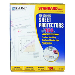 C line Top Loading Standard Weight Poly Sheet Protectors Clear 8 5 X 11 Inche