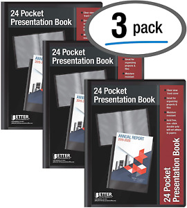 24 Pocket Bound Sheet Protector Presentation Book 3 Pack Clear View Front 48