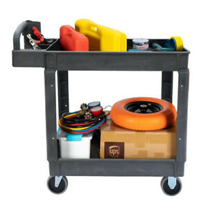 Plastic Utility Service Cart 500 Lb Capacity 2 Shelf Rolling Shop Tool Us Stock