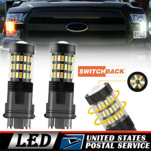 Dual Color Led Bulbs Front Turn Signal Drl Parking Light 3157 4157 Switchback X2