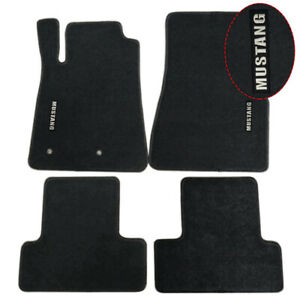 For 05 09 Ford Mustang Coupe Floor Mats Carpets Nylon Black W White Mustang
