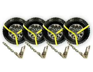 4 Pack 2 Chain Ratchets Lasso Straps For Tow Truck Wrecker Car Hauler Lift