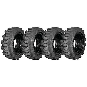 4 New Summit Solid Skid Steer Tires 12x16 5 With Rims Large Hub