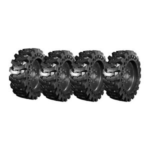 4 New Summit Solid Skid Steer Tires 12x16 5 With Rims Free Shipping