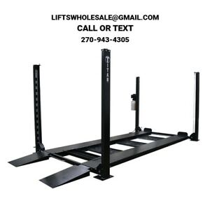 Titan 8 000 Lbs 4 Post Storage Lift Ramps Jack Tray 3 Drip Trays