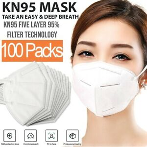 Kn95 Protective 5 Layers Face Mask 100 Pcs Bfe 95 Pm2 5 Disposable Respirator