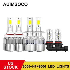 6x 9005 H7 9006 Led Headlight Fog Light Bulbs White For Subaru Outback 2005 2009