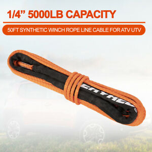 1 4 50 5000lbs Synthetic Winch Rope Winch Line Cable Orange W Sheath For Atv