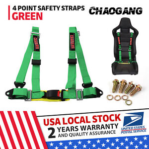 Takata Race 4 Point Snap On 3 Racing Seat Belt Harness With Camlock Green Us