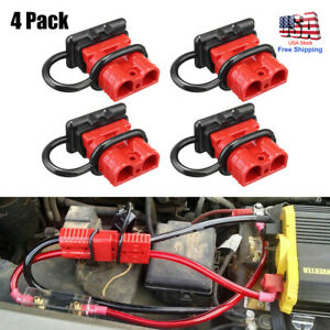 4pc Quick Battery Connector Winch Trailer Connect Disconnect Wire Harness Plug