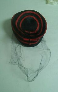 Vintage Womens Black Red Stripes Dress Sunday Hat Veil Going to Meeting