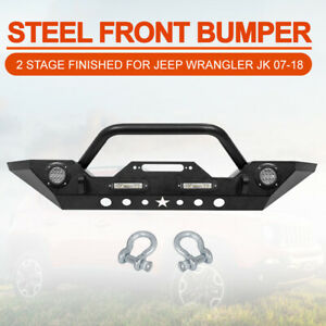 Front Bumper For Jeep Wrangler Jk 07 18 With Led Lights Built In Winch Plate