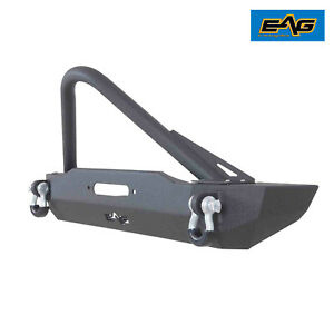 Eag Fits 84 01 Jeep Cherokee Xj Stubby Front Bumper W Winch Plate Stinger