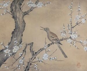 Fine Korean Minhwa Folk Hand Painting Sparrow Cherry Blossom Tree Signed Framed
