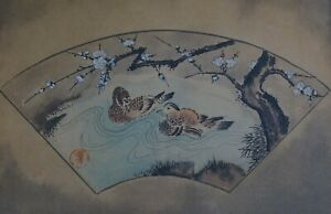 Fine Korean Minhwa Folk Hand Painting 2 Ducks In Fan Shape Chop Stamp Framed