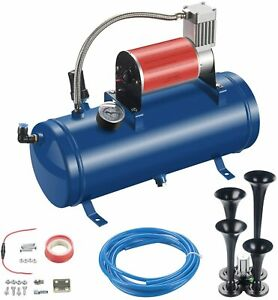 6l 150psi W 4 Trumpet Air Horn 12v Compressor Kit Blue Tank Gauge For Car Train