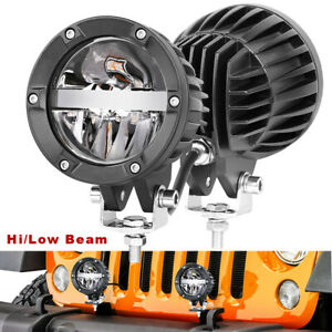 Pair 4 Cree Round Led Driving Lights High Low Beam 6500k Driving Truck Off Road