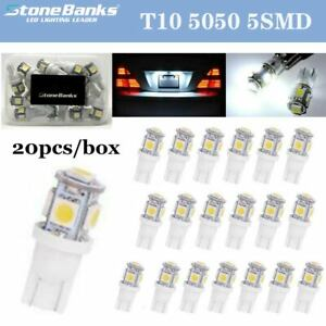 20pc 6000k T10 White Wedge 5050 5smd Interior Led Light Bulb W5w 168 192 194 282