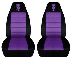 Black Panther Car Seat Covers In Purple Black Velour Front Set Or Choose Color
