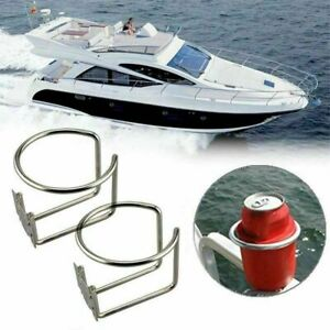 2x Marine Boat Ring Cup Holder Stainless Steel Drink Bottle Stand Mount Atv Rv