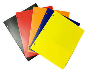 5 Heavy Duty Plastic 2 Pocket Poly Prong Folders Assorted Colors New