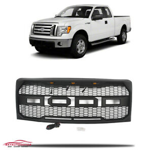 Fits Ford F150 2009 2014 Front Upper Grille With Lamp Raptor Style Matte Black
