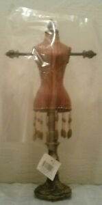 Tabletop Victorian Mannequin Dress Form Jewelry Display Striped Torso Beaded
