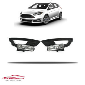 Fits 2015 2017 Ford Focus Front Fog Driving Light Bezel W harness And Bulb Set