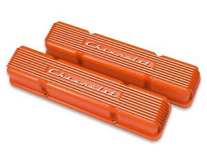 Chevrolet Sbc Orange Valve Covers Finned Chevrolet Script Aluminum 283 327 350
