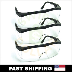 3 Pair Pack Protective Safety Glasses Clear Lens Work Uv Ansi Z87 Lot Of 3