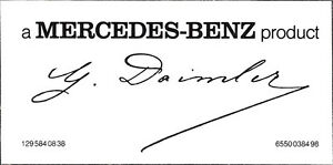 Windshield Sticker Mercedes Benz Product With Gottlieb Daimlers Signature