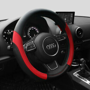 15 Pu Car Steering Wheel Cover Red Pu Leather Protection Universal Fit