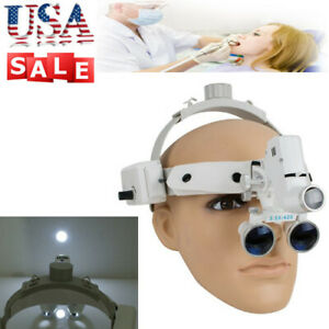 Us Dental Binocular Loupes Surgical Glass Magnifier Led Headlight 3 5x 420mm