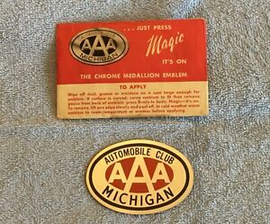 Nos Aaa Award Auto Emblem Badge Vintage Chrome Automobile Club Michigan