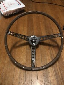 Original 1965 1966 Ford Mustang Accessory Wood Steering Wheel Assembly