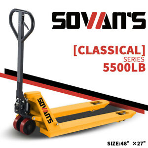 Sovans Manual Pallet Jack Hand Truck 5500lbs Capacity 48 lx27 w Fork