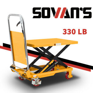 Sovans Manual Hydraulic Single Scissor Lift Table Cart 330lbs 29 lifting Height