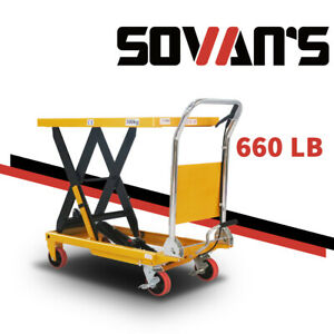Sovans Manual Hydraulic Single Scissor Lift Table Cart 660lb 35 4 lifting Height