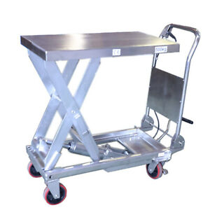 Sovans Hydraulic Single Scissor Stainless Lift Table Cart 1100lbs Capacity