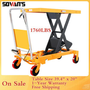 Sovans Manual Hydraulic Single Scissor Lift Table Cart 1760lbs 39 4 Lift Height