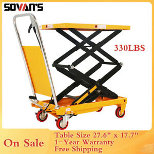Sovans Manual Hydraulic Double Scissor Lift Table Cart 330lbs 43 3 Lift Height
