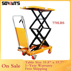 Sovans Manual Hydraulic Double Scissor Lift Table Cart 770lbs 51 2 Lift Height