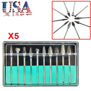 5x Tungsten Steel Dental Burs Lab Burrs Tooth Drill 10 Pcs Pack Tooth Drill Usa